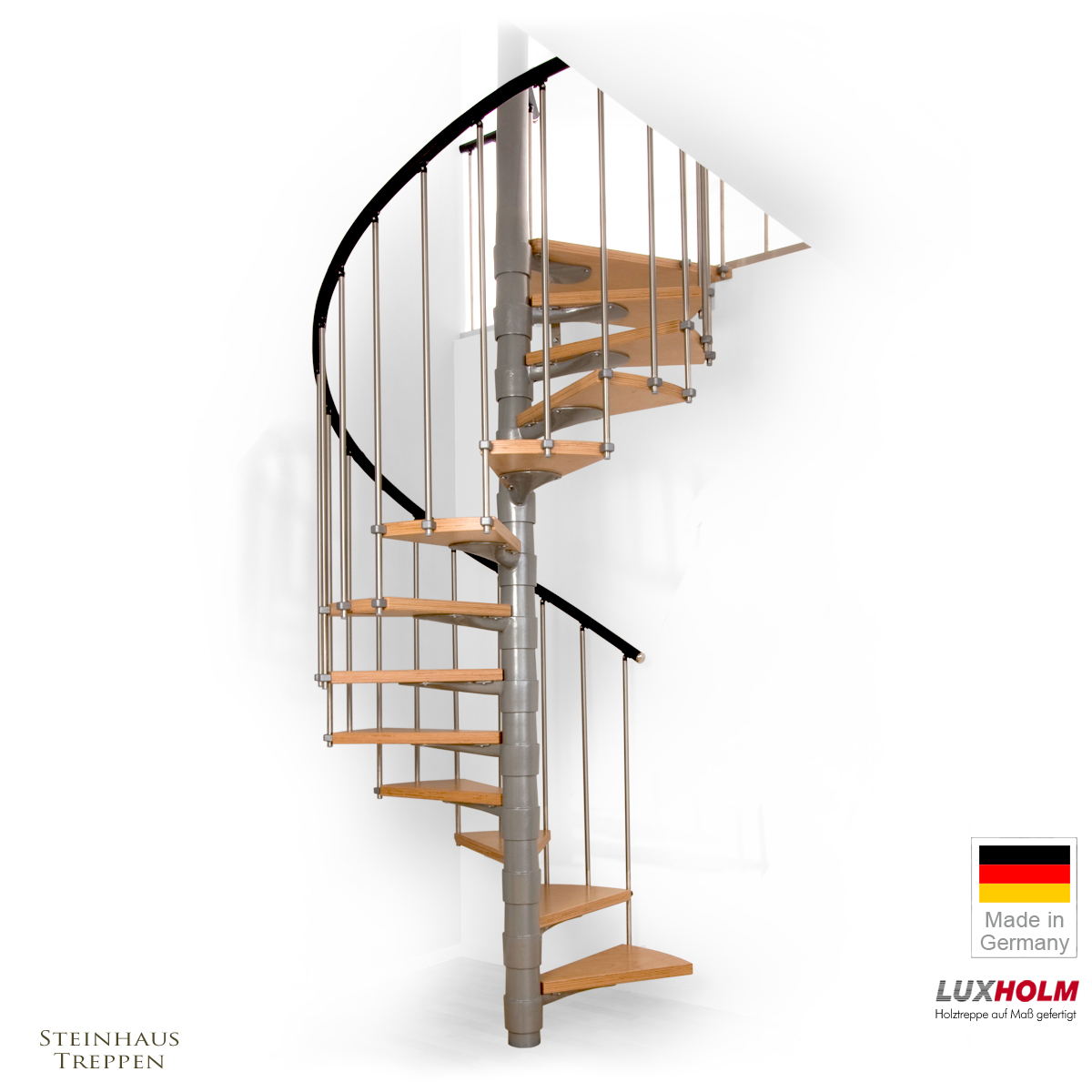 wendeltreppe luxholm saturn mit holzstufen 120 cm steinhaus treppen treppen g nstig kaufen. Black Bedroom Furniture Sets. Home Design Ideas