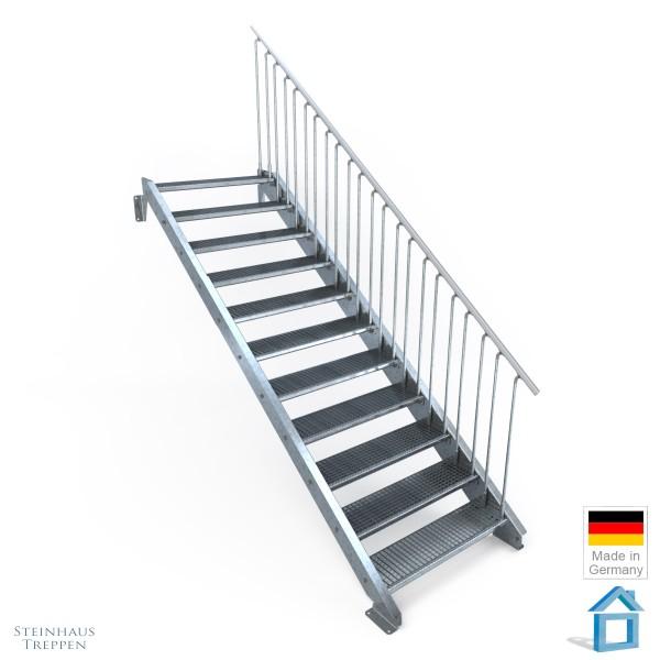 Außentreppe 11 Stahl Stufen 100 cm 12 Steigungen