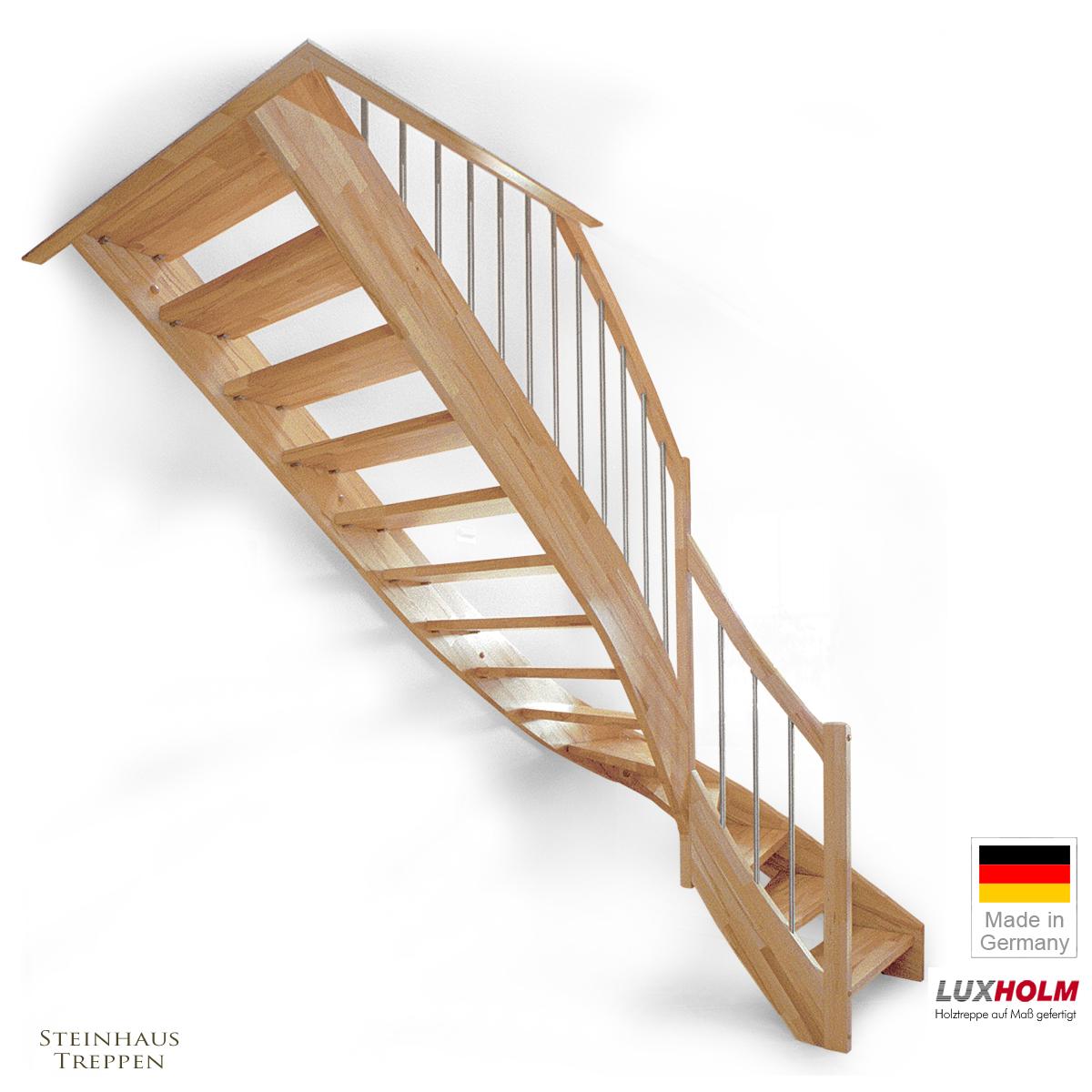 NebeneingangstUr Holz Nach Mas ~ Holztreppe nach Maß mit Geländer und 4tel Wendung, Kernbuche