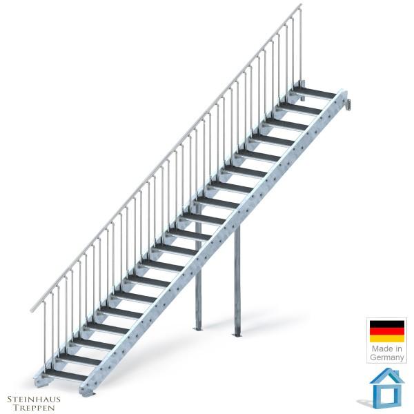 Stahltreppe verzinkt 19 Stufen 100 cm, GH 380 cm