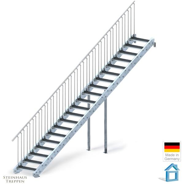 Stahltreppe verzinkt 20 Stufen 100 cm, GH 400 cm