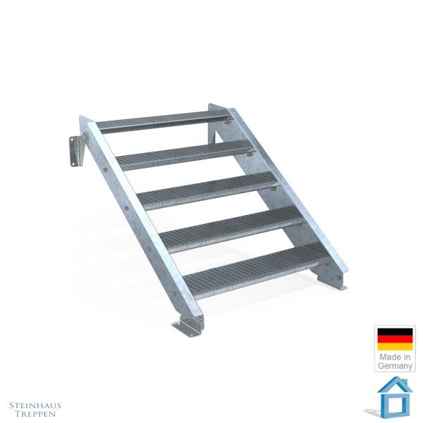 Außentreppe 5 Stahl Stufen 100 cm 6 Steigungen