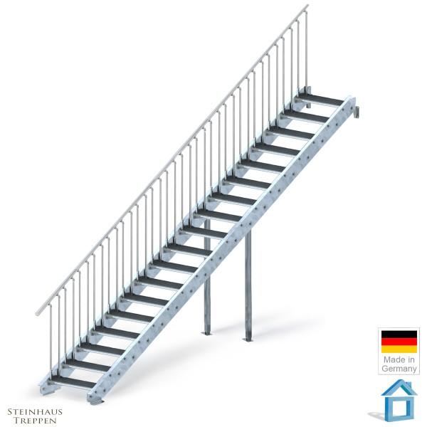 Stahltreppe verzinkt 18 Stufen 100 cm, GH 360 cm