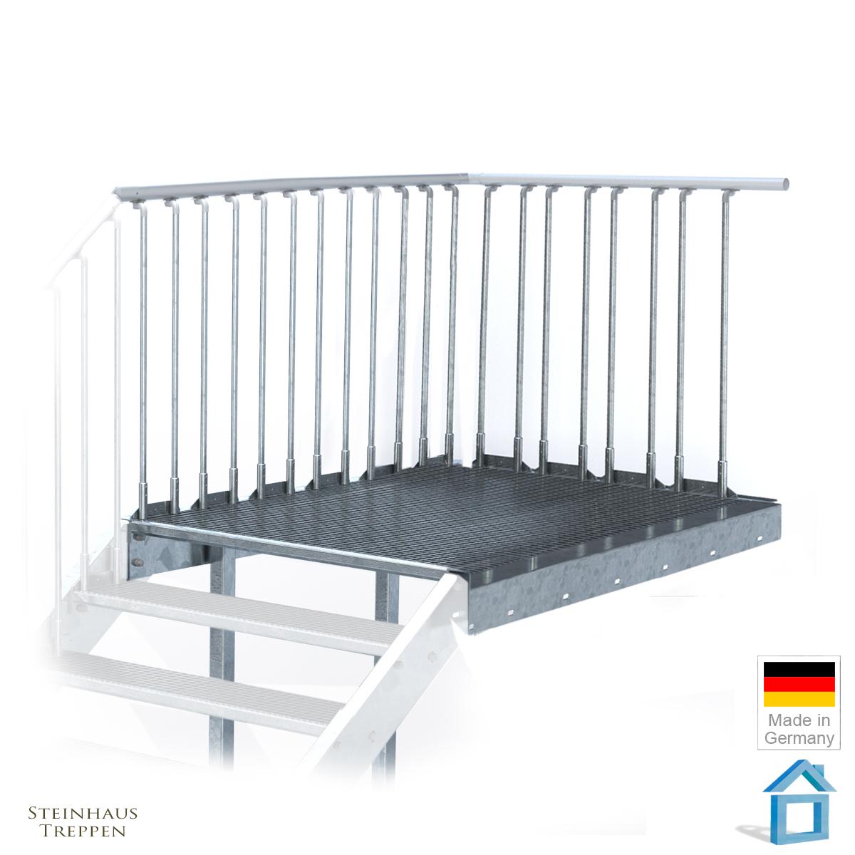 au entreppe stahl mit 16 steigungen und podest 100 cm breite. Black Bedroom Furniture Sets. Home Design Ideas