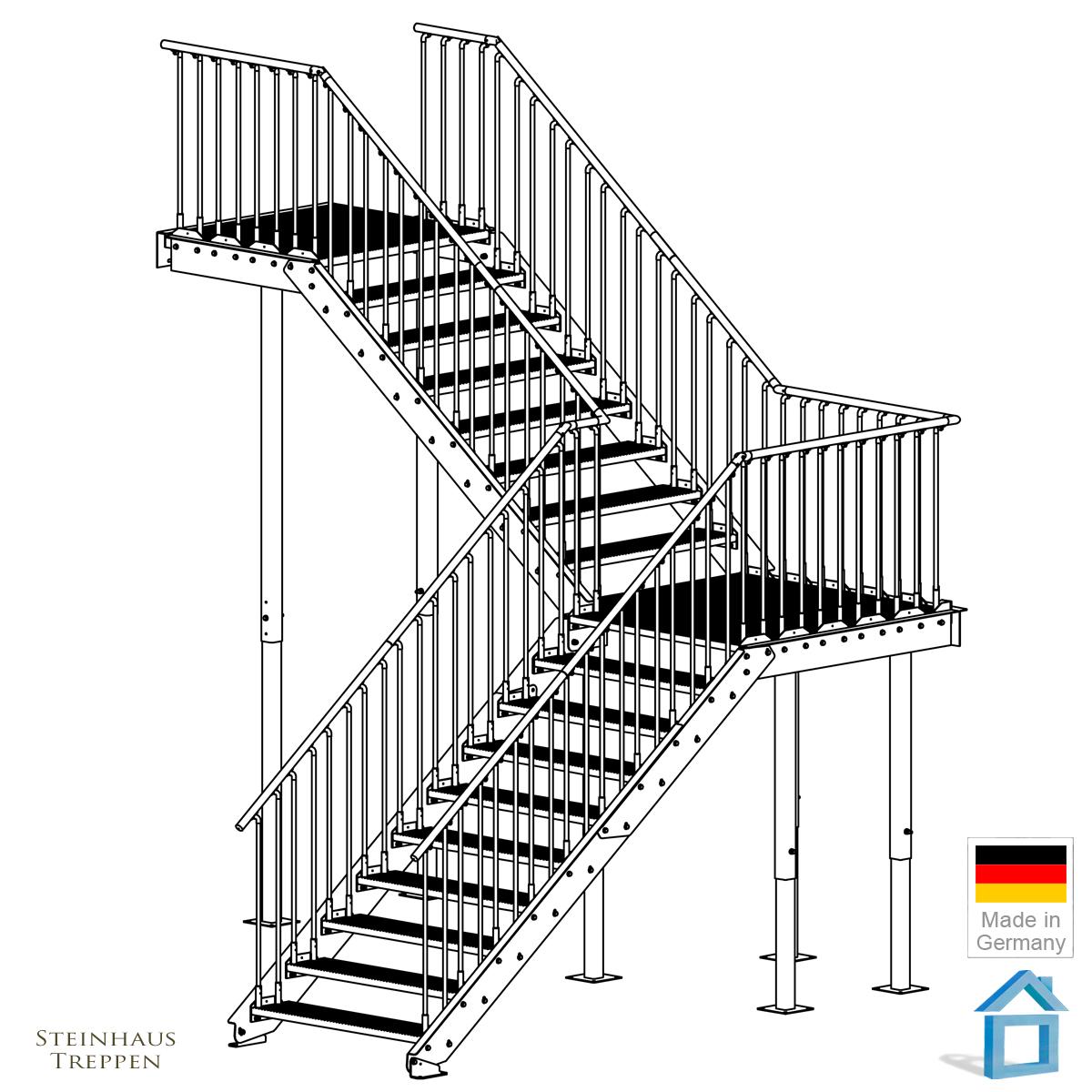 eingangstreppe l sung mit wendelung nachr st bausatz stahltreppe aussen steinhaus treppen. Black Bedroom Furniture Sets. Home Design Ideas