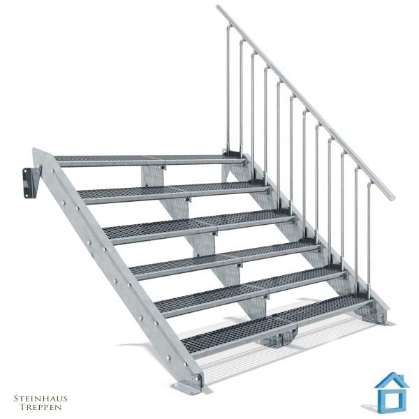 Stahltreppe 6 Stufen 200 - 240 cm Breite