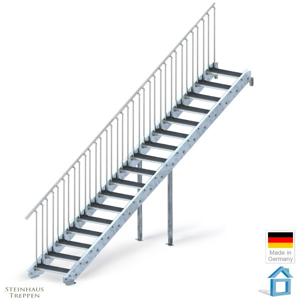Stahltreppe verzinkt 17 Stufen 100 cm, GH 340 cm