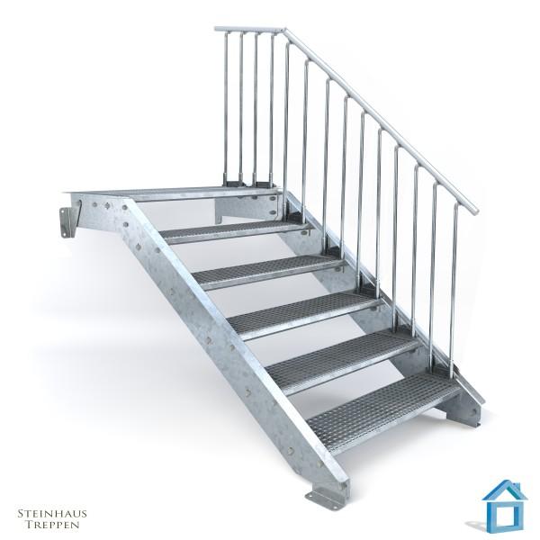 Stahltreppe 6 DIN Stufen bis 120 cm GH, Podeststufe