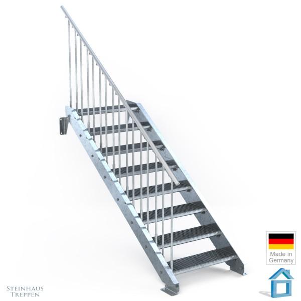 Außentreppe 8 Stahl Stufen 80 cm 9 Steigungen