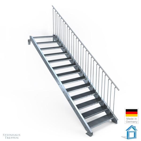 Außentreppe 13 Stahl Stufen 100 cm 14 Steigungen