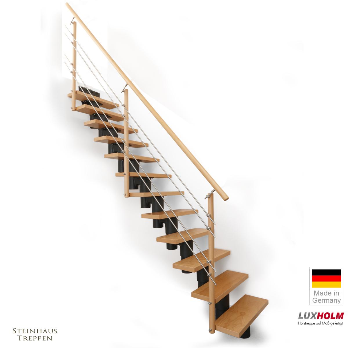 mittelholmtreppe mit buche holzstufen in breiten 65 und 80. Black Bedroom Furniture Sets. Home Design Ideas