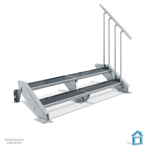 Stahltreppe 2 Stufen 200 - 240 cm Breite