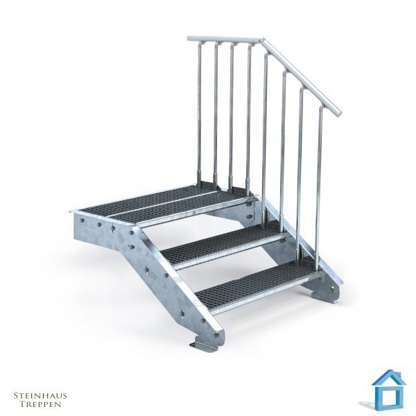 Stahltreppe 3 Stufen 100 cm Breite mit Podeststufe